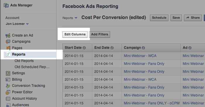 Facebook Ad Reports Edit Columns