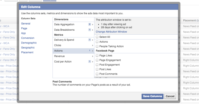 Facebook Edit Columns Actions