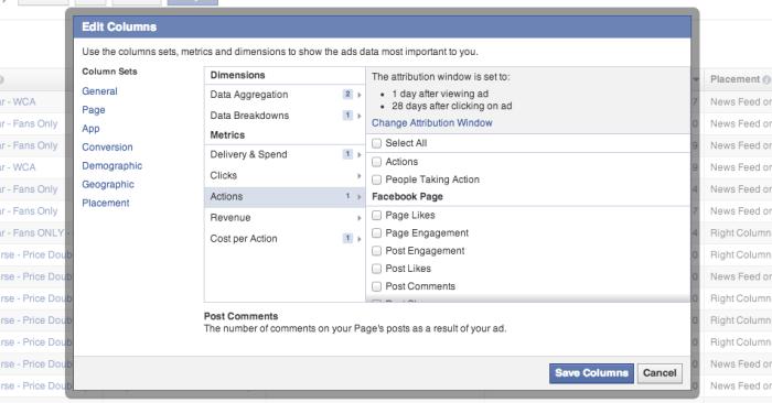 Facebook Edit Columns Actions