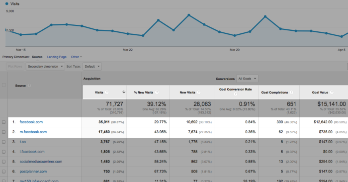 Google Analytics Facebook Conversion Referrals