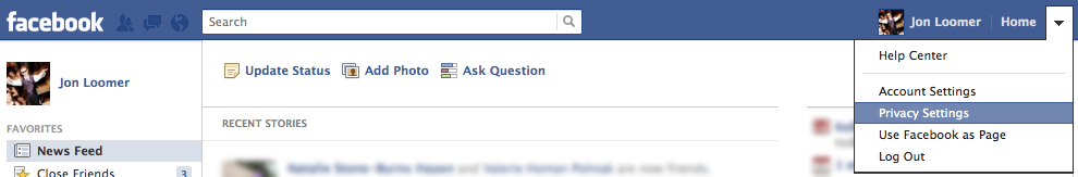 Facebook Privacy Dropdown