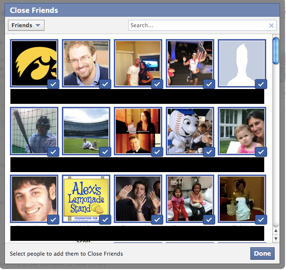 Select Close Friends