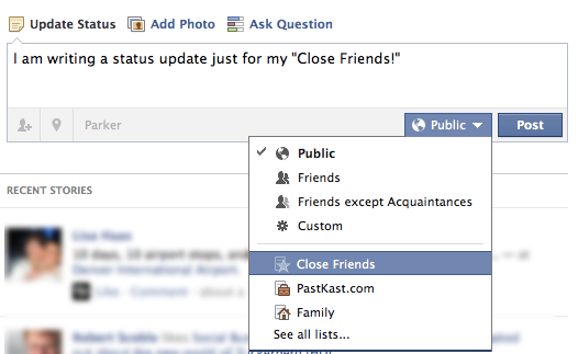 Facebook Status Update Privacy