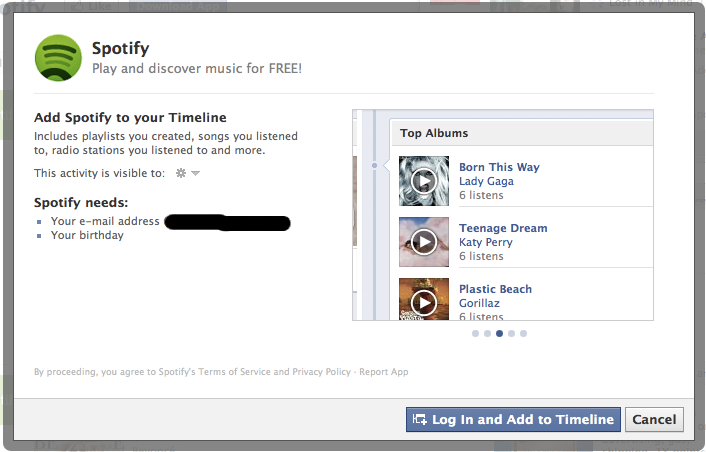 Spotify Facebook Installation