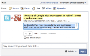 Edit title and description when sharing links on Facebook