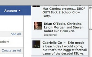 Facebook Sponsored Stories in the Ticker