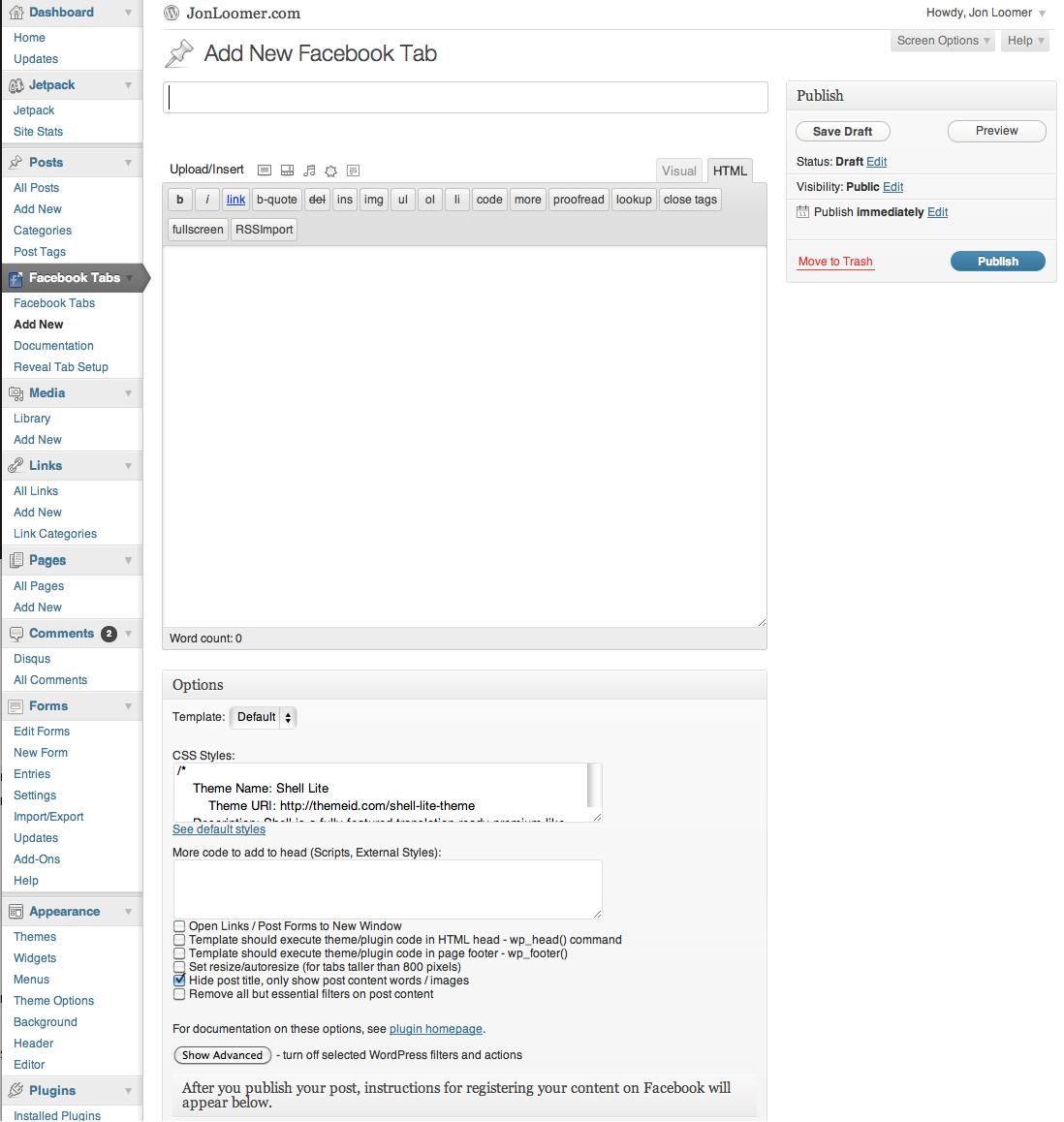 Facebook Tab Manager WordPress Plugin