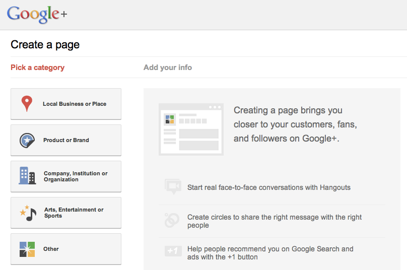 Create Business Page on Google Plus