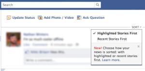 New Facebook Sort