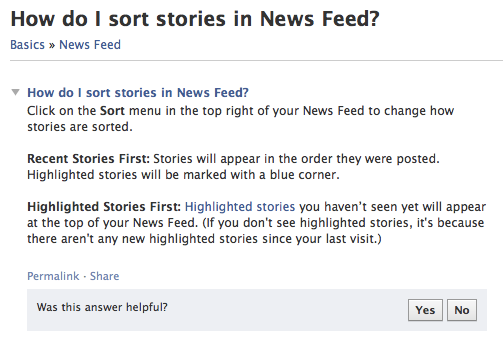 Explanation of Facebook's new sorting option in the News Feed