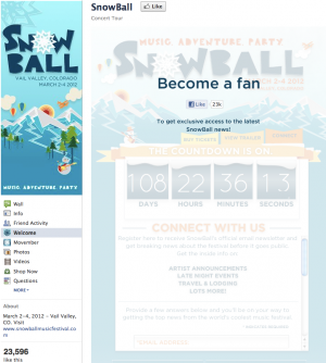 Snowball Music Festival Facebook Fangate