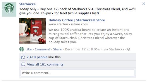Starbucks Facebook Deal