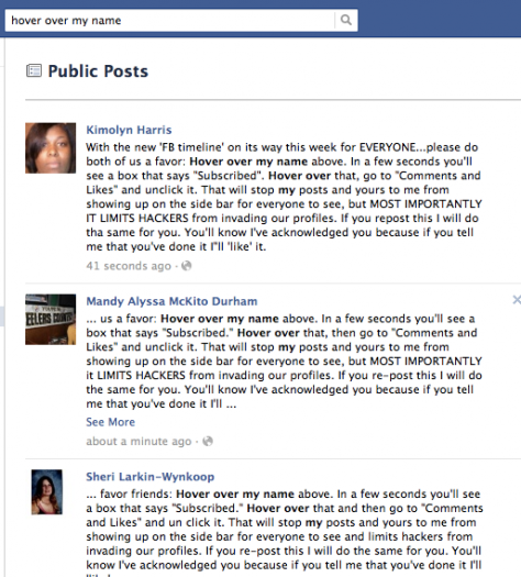 Hover Over My Name: New Hoax Spin Added to Viral Facebook Status