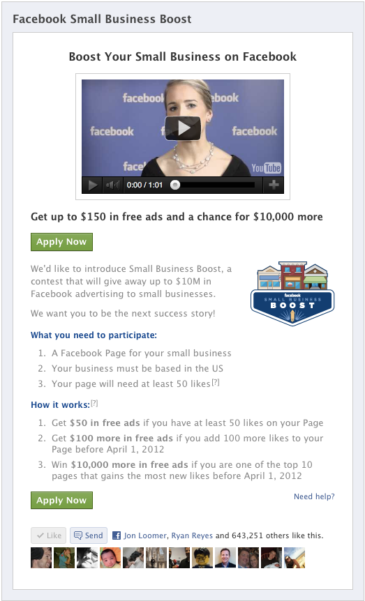 fbsmallbusinessboost How to Get $50, $150 or over $10,000 in Free Facebook Advertising Coupon Codes