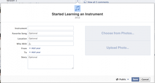 Facebook Timeline Learning an Instrument