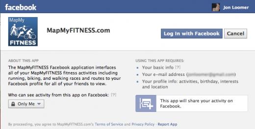 MapMyFitness Facebook Install