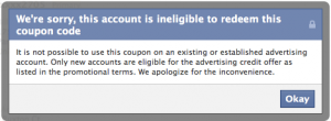 Ineligible to Redeem this Facebook Coupon Code