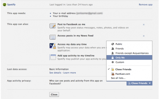 Adjusting Spotify Privacy for Facebook