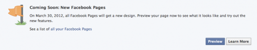 Facebook Timeline for Pages Preview