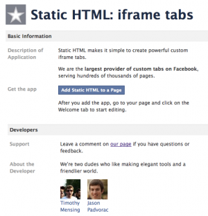 Add Static HTML Facebook Application