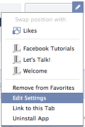 Facebook Tab Edit Settings