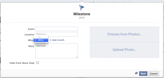 Can't Enter Facebook Milestone before 2012