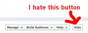 Facebook Timeline Admin Panel Hide Button