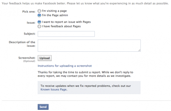 Contact Facebook to Send Feedback about Facebook Timeline for Pages
