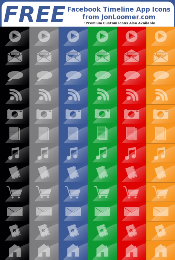 Free Facebook Timeline App Icons from JonLoomer.com