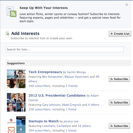 interests How to Create and Subscribe to Facebook Interest Lists