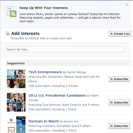 Facebook Interest Lists
