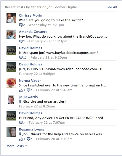 Facebook Timeline Recent Posts By Others