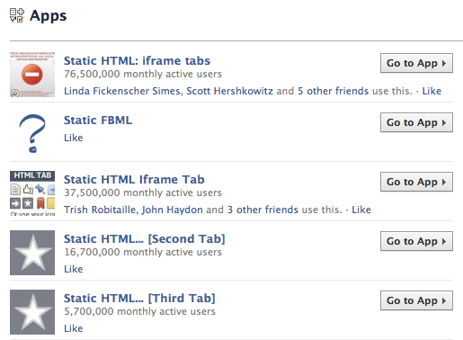 Static HTML Search on Facebook
