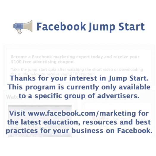 $100 Coupon Code from Facebook Jump Start (Or Not?)