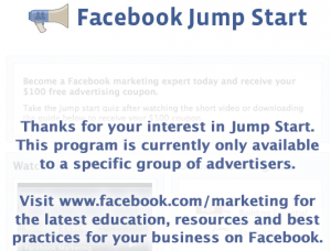 Specific Group of Advertisers Facebook Jump Start