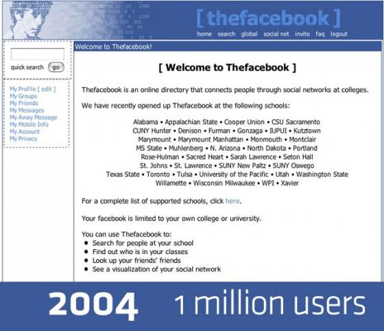 Facebook Design 2004