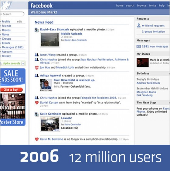 facebook 2006 640 560x566 Detailed History of Facebook Changes 2004 12 [Research]
