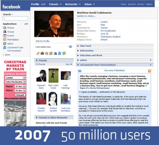 facebook 2007 640 560x510 Detailed History of Facebook Changes 2004 12 [Research]
