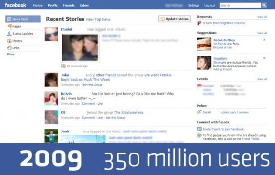facebook 2009 640 560x358 Detailed History of Facebook Changes 2004 12 [Research]