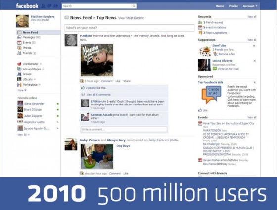 facebook 2010 640 560x426 Detailed History of Facebook Changes 2004 12 [Research]