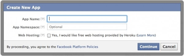 Create new App Facebook
