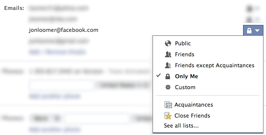 Facebook email address Privacy Control
