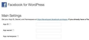 Facebook for WordPress Main Settings