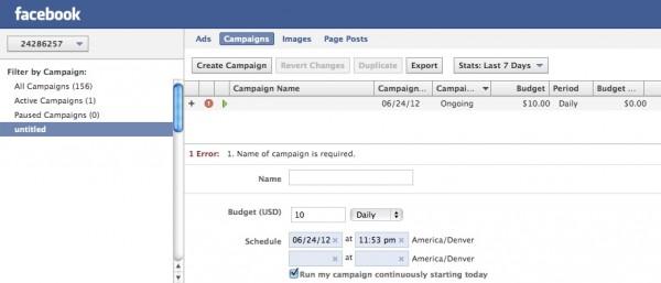 Facebook Power Editor Create Campaign