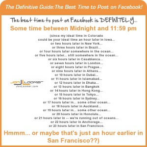 Best time to post on Facebook infographic Jon Loomer