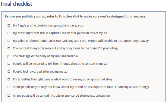 facebook ad checklist Facebook Page Post Ads Best Practices Guide
