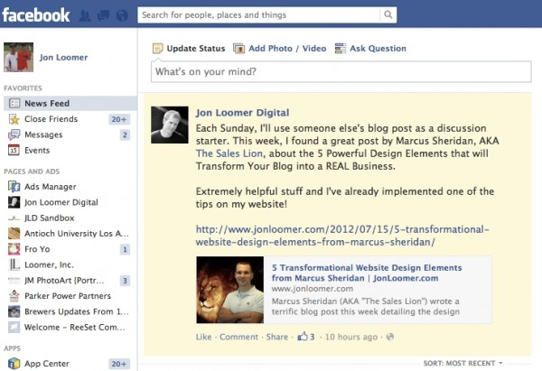 Facebook Page Notification News Feed