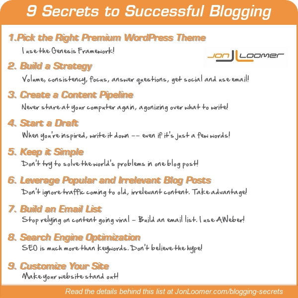 9 Secrets to Successful Blogging