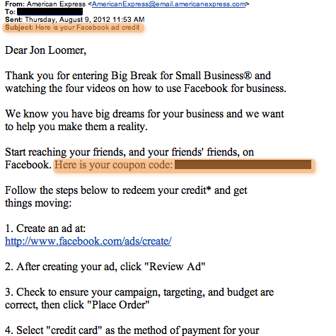 bigbreakcode Big Break for Small Business Facebook Ad Coupon Codes Being Sent