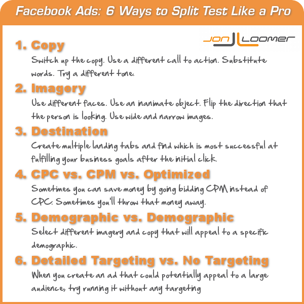 facebook ad split test Facebook Advertising: 6 Ways to Split Test Like a Pro [Infographic]